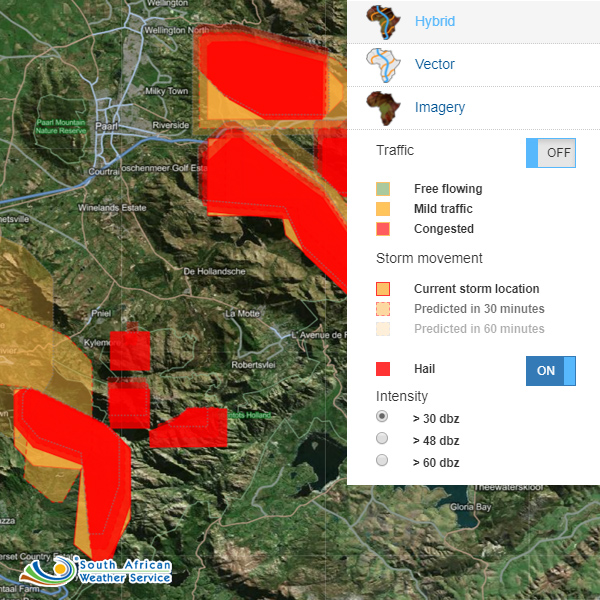 AfriGIS assists leading insurance companies by providing up to date and historic extreme weather warnings from The South African Weather Service.