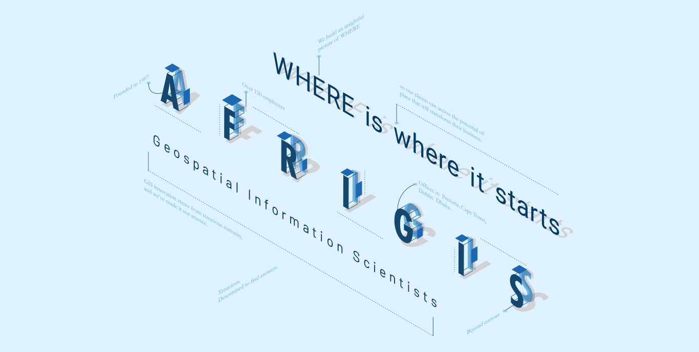 AfriGIS logo mark expanded in 3D